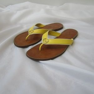 Coach 8.5 Deney Patent Leather Yellow Thongs Shoes